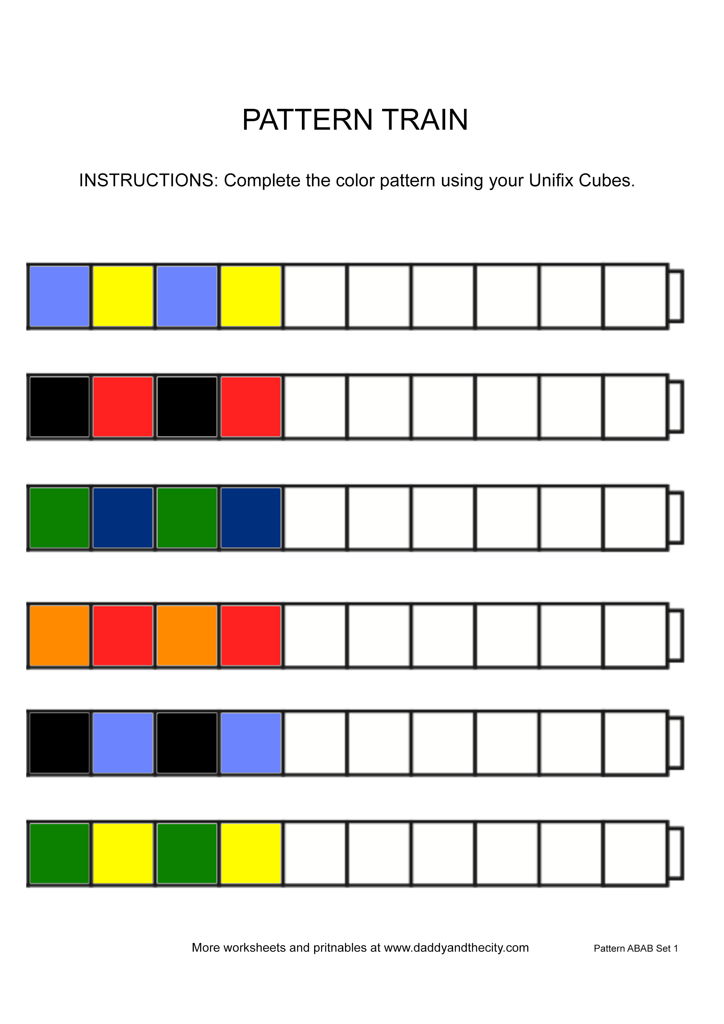 Pattern Printables For Unifix Cubes Daddy And The City